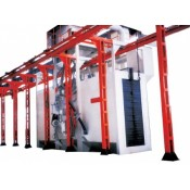 Hanger pass-through shot blasting machines